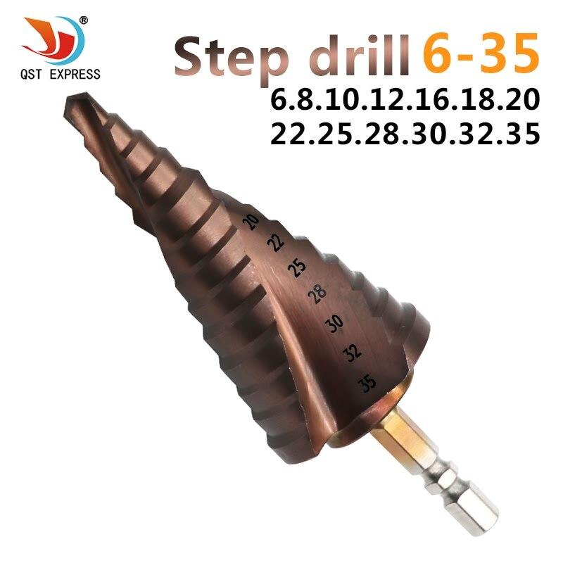 HSS 6-35mm titanio recubierto espiral ranura co M35 paso Brocas con cobalto 13 pasos 6.35mm HEX pagoda Brocas