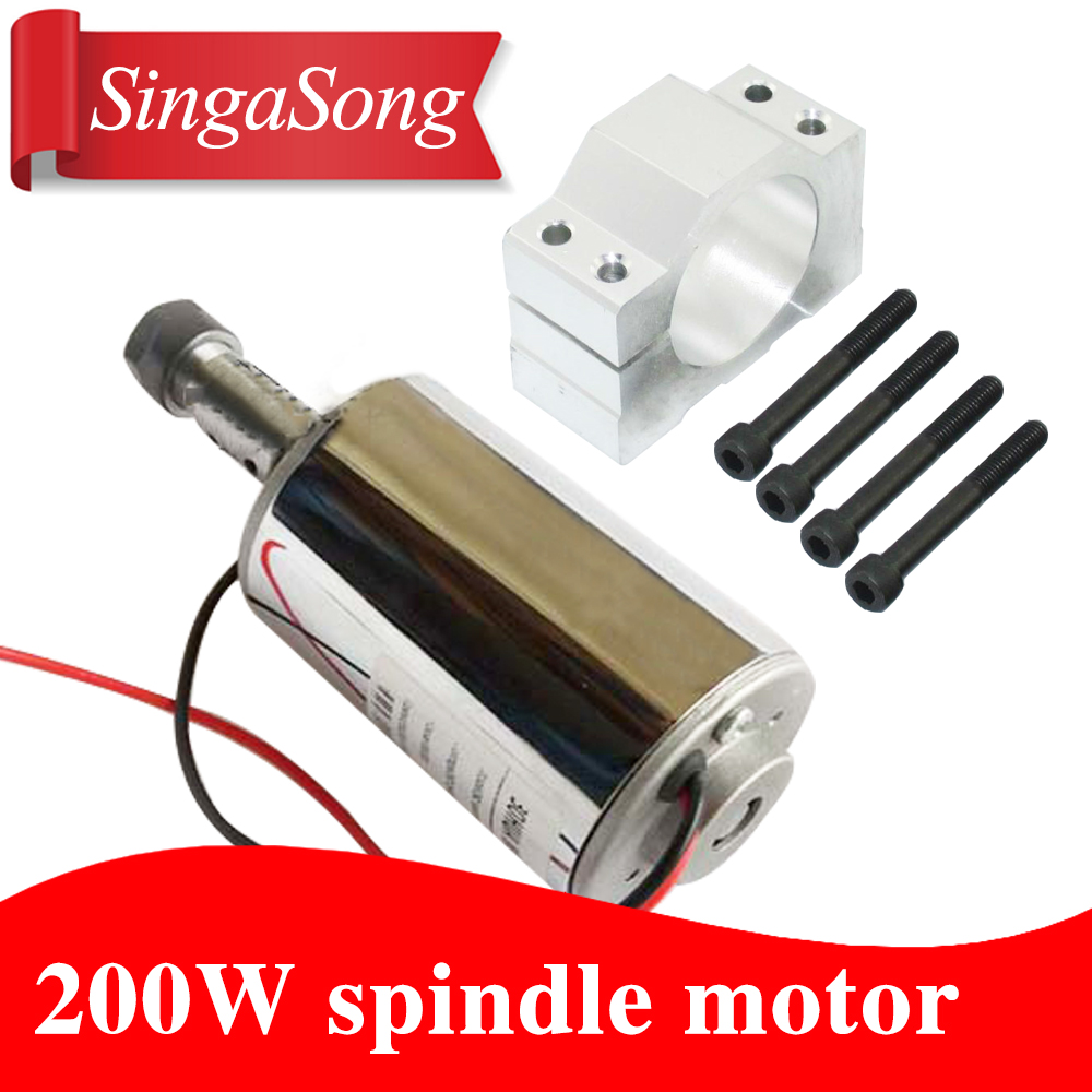 52mm cnc spindle 200w ER11 chuck DC 12-48v 200W Spindle motor cnc for Engraving Machine + clamp ER11 3.175MM for PCB Engraving 1sets er11 chuck