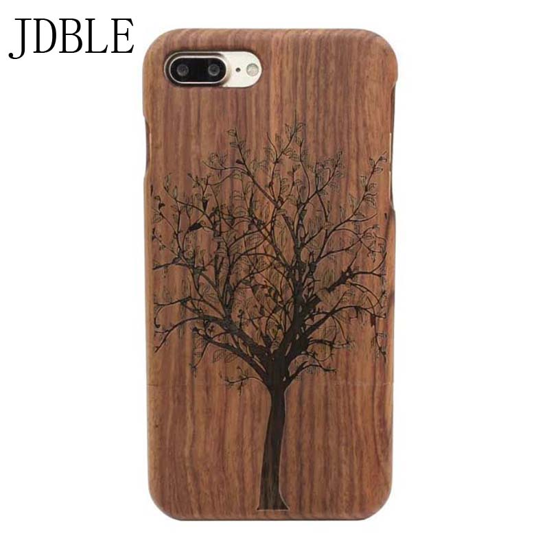 imágenes para 100% madera natural case para iphone 7 5 5s 6 6 s plus bambú cubierta del teléfono para el iphone 4s 4g 5c 7 plus teléfono patrones de grabado JS0316