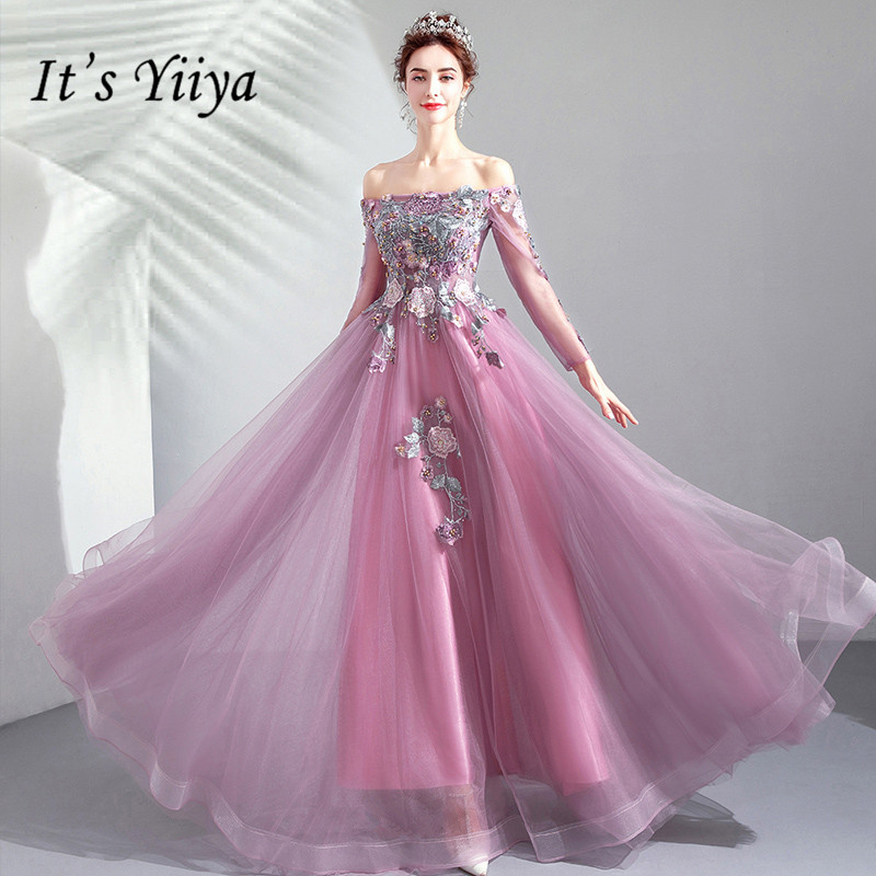 It's YiiYa   Prom   Gowns Boat Neck Full Sleeves A-Line Beading Floor Length Long Party   Dress   Custom Plus Size   Prom     Dress   2019 E245