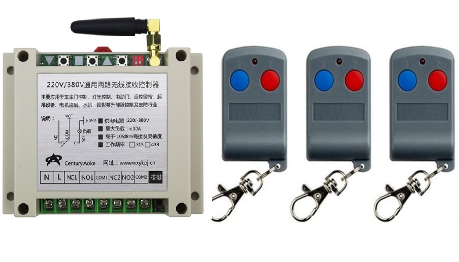 latest AC220V 250V 380V 30A 2CH RF Remote Control Switch System 3 X Transmitter + 1 X Receiver 2ch relay smart home z-wave new dc12v 2ch rf remote control switch system teleswitch 1 x transmitter 1 x receiver 2ch relay smart home z wave 315 433 mhz