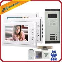 New Hom 7 Video Intercom Doorbell Apartment Door Phone 3 Monitors IR Camera For 3 Family