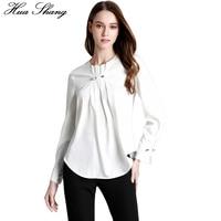 2017 Summer Women White Shirt Long Sleeve Fold Beading Elegant Ruffles Blouse Loose Plus Size Irregular