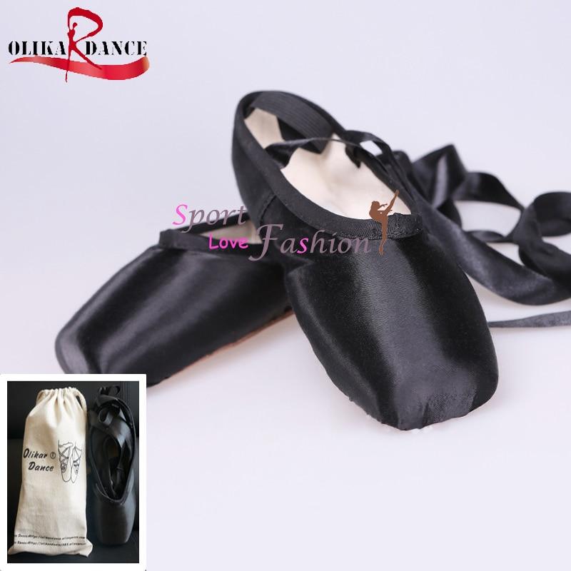 ФОТО Women Girls Lady Ballet Pointe Dance Shoes Professional Ribbon Ties Satin Black+Dance Shoes Bag /Dance Shoes
