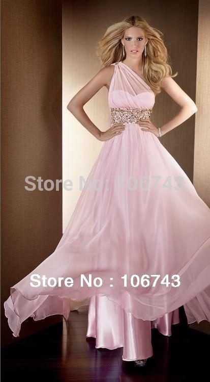 Livraison gratuite robe de bal 2018 Sexy mariées robe de festa une épaule perlée en mousseline de soie cristal Graduation robes de demoiselle d'honneur