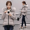 Winter new Korean version of large size hair collar hooded down jacket women thickening Slim was thin cotton women