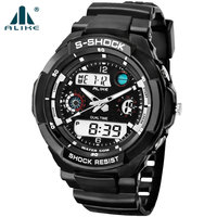 2014 New S Shock Fashion Watches Men Sports Watches Alike Digital Analog Multifunctional Alarm Military Watch