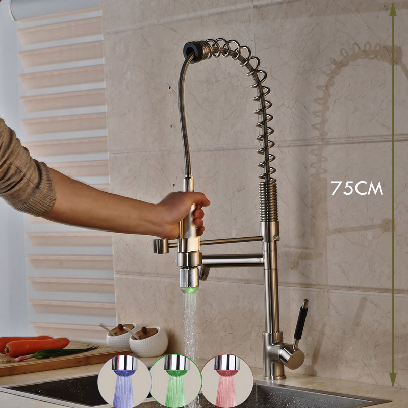 Classic Led Light Nickel Brushed kitchen Faucet Tap Dual Rotate Spout One Handle Single Hole Mixer Taps Deck Mounted