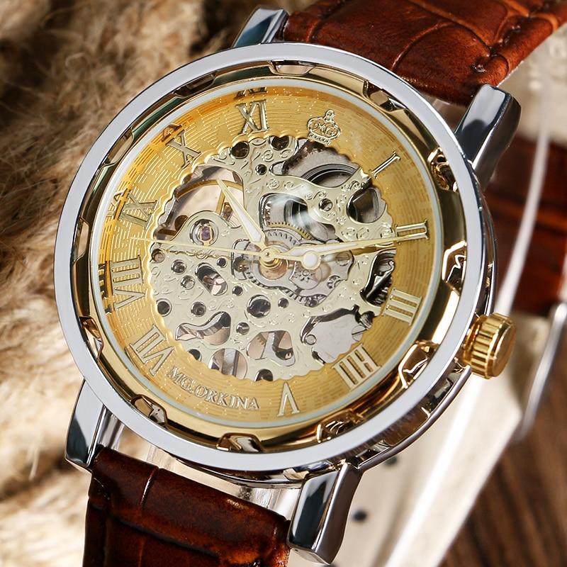 все цены на Luxury Mechanical Watch Gold Skeleton Dial Roman Numbers Hand Wind Watches Men's Genuine Leather Wristwatch онлайн