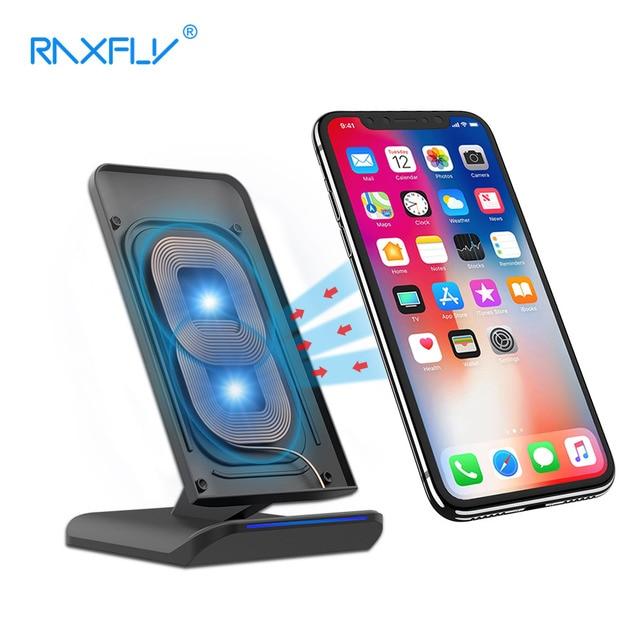 Raxfly Ци Беспроводное зарядное устройство 10 Вт подставка для iPhone X 8 Plus USB Быстрый быстрой зарядки подставка для Samsung S8 плюс S7 S6 края Примечание 8 док