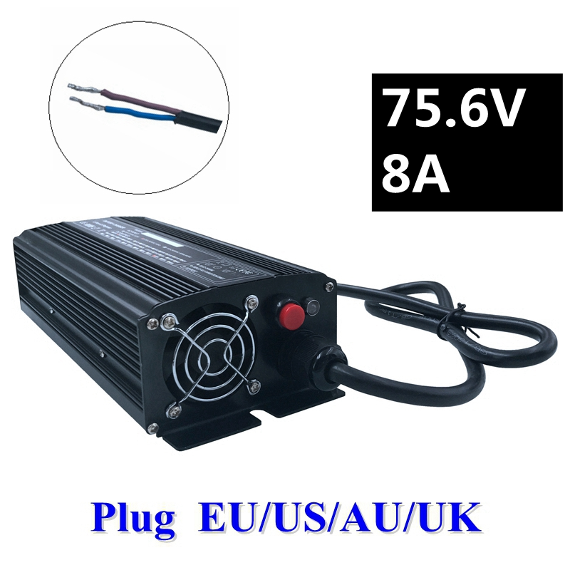 672W 75.6V 8A Li-ion Battery Charger for 18S 66.6V Electric golf cart Electic forklift Electric vehicle Electric bike battery 16 8v 21a li ion battery charger for electric vehicle electic forklift electric golf cart aluminum shell with fan