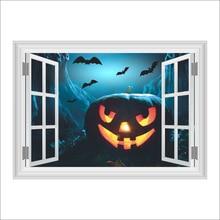 halloween 3d horror ghost castle pumpkin head wall sticker living room decorative stickers decorative halloween decorations
