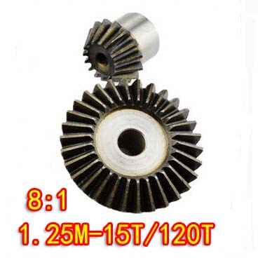 1.25M-15T/120T(8:1) Precision 90 Degree Cone Bevel Gear Umbrella Steel Gear