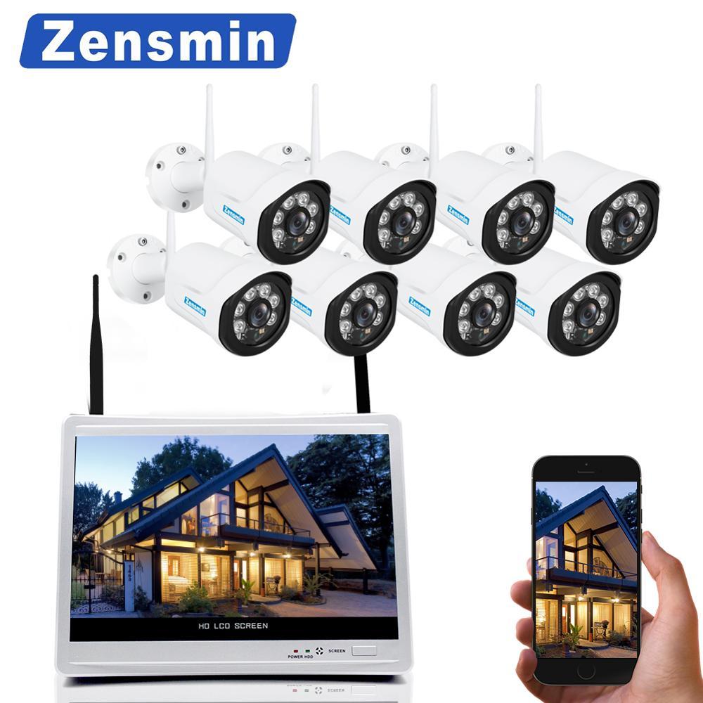Zensmin 15 LCD 8CH HD 720P WiFi NVR KIT with 8pcs 1.0MP waterproof night vision wireless IP camera CCTV security surveillance