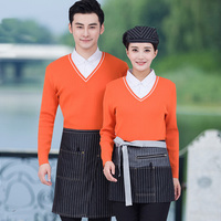 Hotel Uniform Autumn And Winter Female Fast Food Drink Coffee Restaurant Waiter Hot Pot Long Sleeved False Two Piece J324