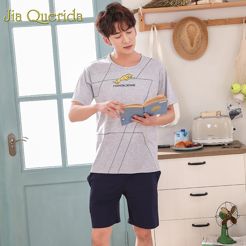 Men's Sleep & Lounge Underwear & Sleepwears J&q Pijama Hombre 2019 Summer New Solid Cotton 100% Shorts Pijama Men Fashion Combinaison Pyjama Grey Print Set Pajamas For Men Good Companions For Children As Well As Adults