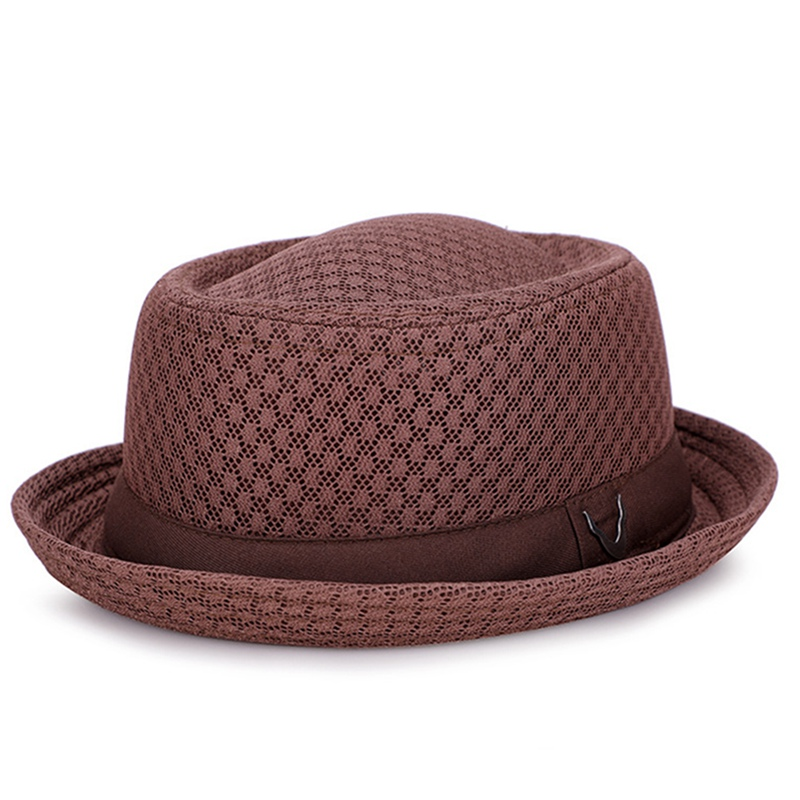 Jazz Hat Straw-Hat Retro-Cap England Mesh Visor Foldable Breathable title=