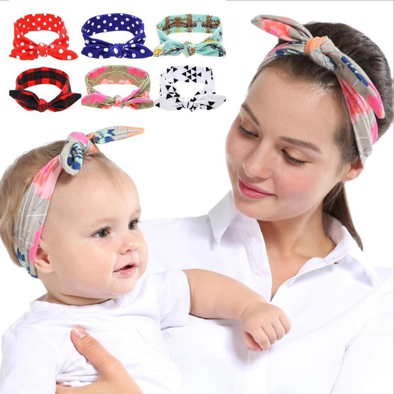2017 mom baby headband Cute rabbit ear infant baby headwear 2pcs/set mother daughter Cotton Bow Hair Accessories photo props D3