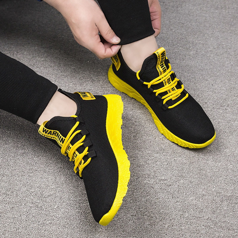 Fashion Men Sneakers Lace Up Mixed Color Male Tennis Shoes Breathable Confort Stretch Febric Mesh Flats Sports Shoes