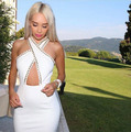 White Color Ladies HL Bandage Dress Sexy Halter Off the Shoulder Bodycon Dress Knee Length Party Club Dress