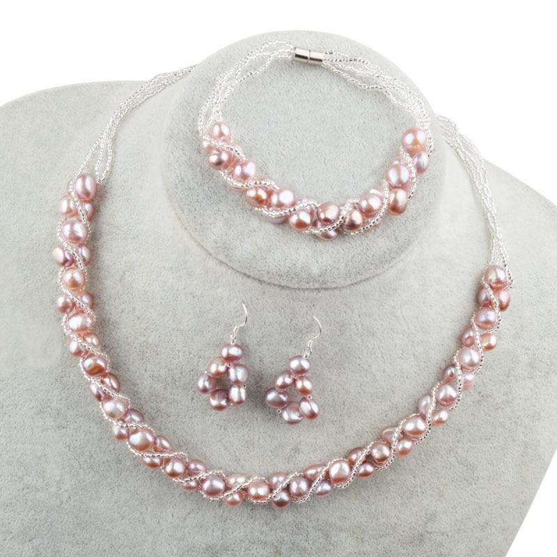 HTB1SjisXUuF3KVjSZK9q6zVtXXaU ASHIQI Natural Freshwater Pearl Jewelry Sets & More Hand-knitted Necklace Bracelet Earrings for Women NE+BR+EA