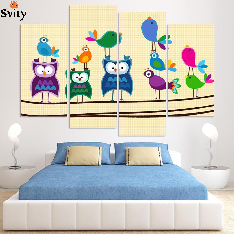 ᐅEnvío Gratis 4 piezas de arte de la Lona Abstracta pájaros pintura ...