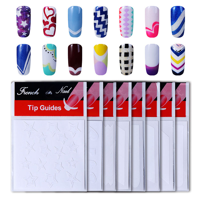 HNM 8pack French Nail Tips Sticker Nail Art DIY Stickers UV Gel Nail Polish Sticker Manicure Nail Forms Fringe Guides Sticker 24 styles french manicure diy 3d nail art tips guides stickers stencil strip nail hollow stickers nail art