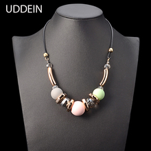 UDDEIN Exaggerate Geometric Plastic Pendant Vintage Statement Choker Necklace Black Leather Chain Women Party Jewelry Collier