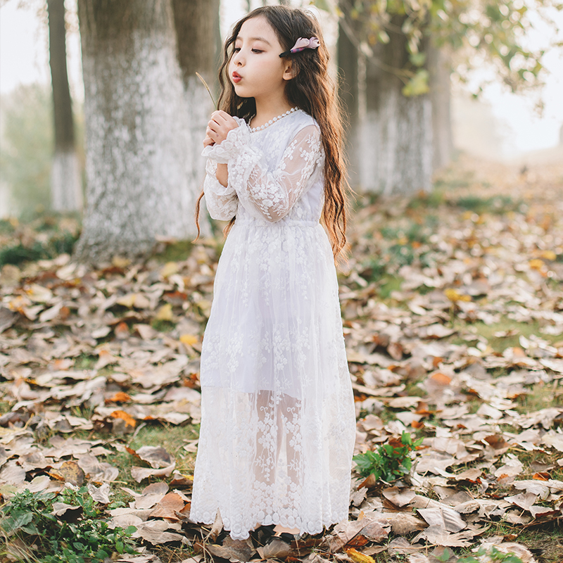 Little Girl Dress For Wedding age 6 8 10 12 14 15 years Teenage Girl Clothing White Lace Long Dress Children's Princess Dress