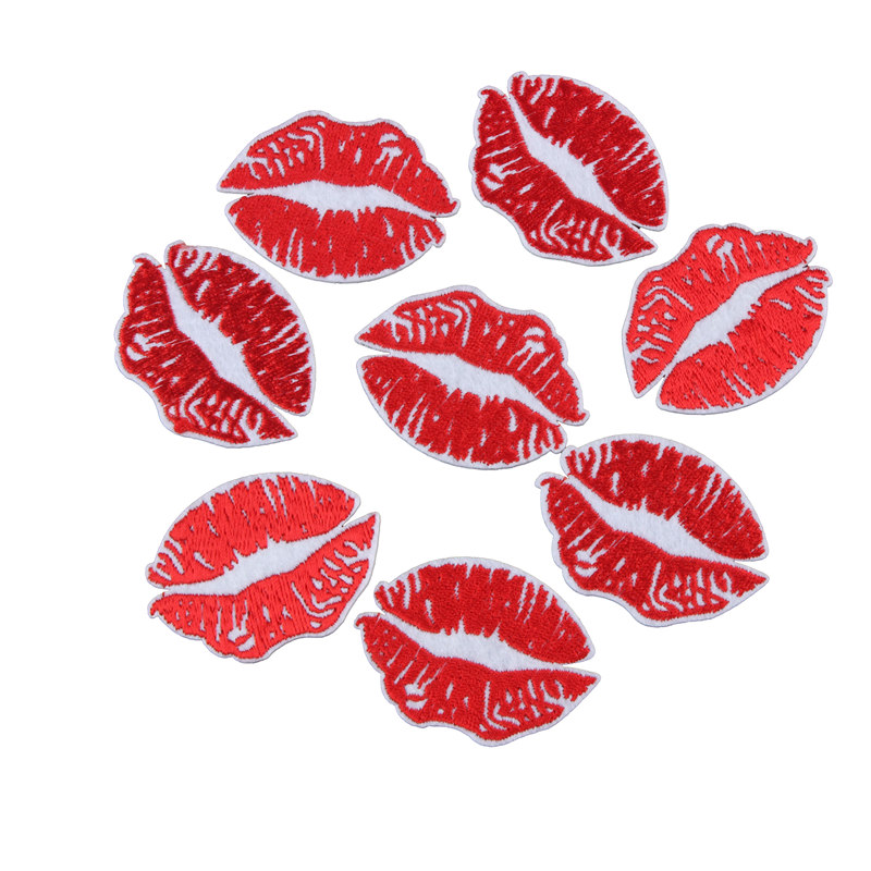 Sexy Red Lip Patch Cute Kiss DIY Small Cheap Embroidered Patches Cartoon Iron On Patches ...