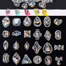 10pcs/pack Nail Charms 10pcs Alloy Nails Charm K9 Glass Jewelry Rhinestones For Art Charming DIY Manicure JE125-523