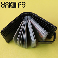 New Style Large Capacity Men Card Holder Solid Color Casual Cow Leather Id Card Holder Top