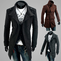 2016 Promotion Sale Turn-down Collar Satin Half Novelty Solid Conventional Thin Epaulette Double Breasted Wool Coat Slim Male
