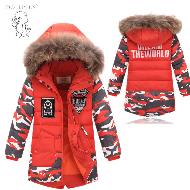 2017 Boys Winter Long Down Jackets children Outerwear Coats Big Fur Collar Thick Warm White Duck Down Jackets Down & Parkas duck down jacket for boys 2017 russia winter warm thick down parkas children casual fur hooded jackets coats 30 degrees