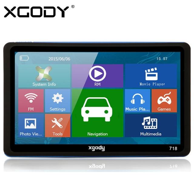XGODY 718 7 дюймов Тележки Автомобиля GPS Навигации 128 МБ ОПЕРАТИВНОЙ ПАМЯТИ + 8 ГБ ROM FM Навигатор с Зонтиком 2015 Европа Америка карты
