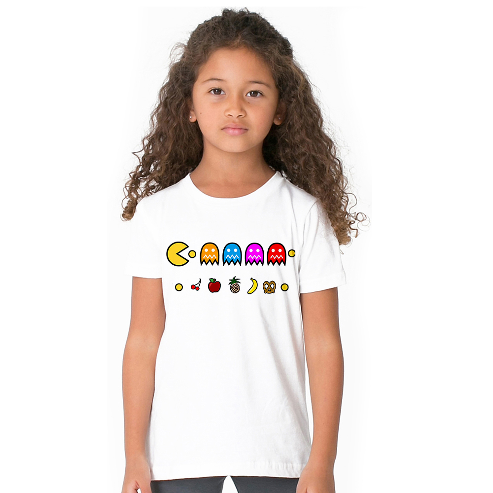 Funny Print Pacman T Shirt Kids Unisex Short Sleeve T-shirt Children Boys Girls Summer Tshirt Game Pac Man Eat Ghost T-shirt black butterfly print skew collar t shirt