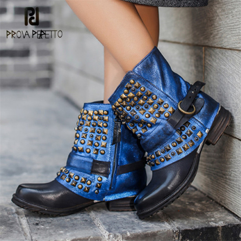 Prova Perfetto Rivets Studded Women Ankle Boots Autumn Winter Strap Platform Shoes Woman Genuine Leather Rubber Riding Boots prova perfetto black handmade women genuine leather mid calf boots buckle straps martin boots women platform rubber shoes woman