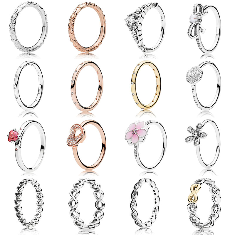 16 Style Women 925 Sterling Silver Rings With Rose Gold Flower Lucky Eight Crystal Ring For Women Jewelry Gift