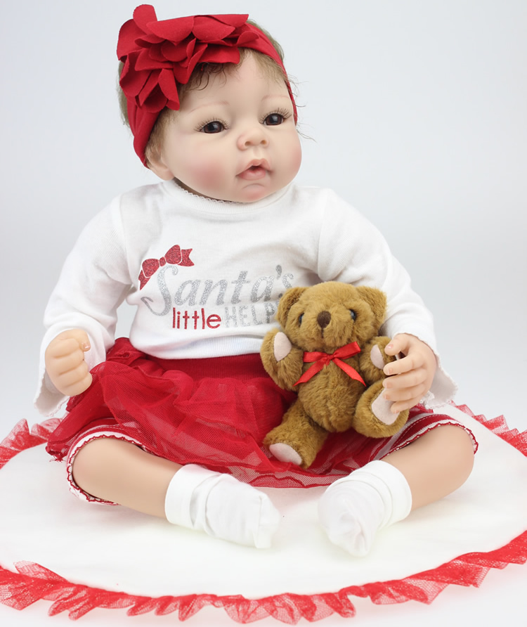 22INCH 55CM Reborn Baby Dolls Full Handmade Brown Eyes Silicone Vinyl Newborn Baby Doll Baby Toys Soft Girls Gift22INCH 55CM Reborn Baby Dolls Full Handmade Brown Eyes Silicone Vinyl Newborn Baby Doll Baby Toys Soft Girls Gift