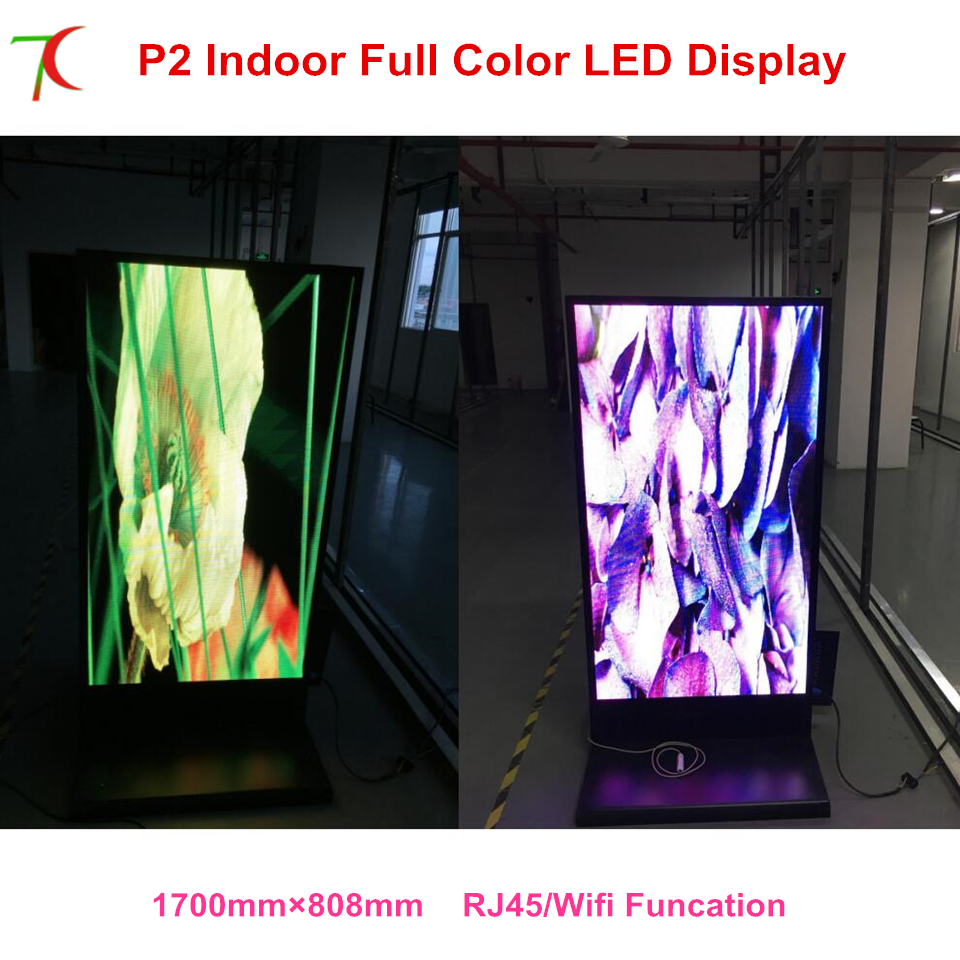 Customized Indoor Vertical   HD P2 Led Full Color Advertising Display Idooor Cabinet Poster