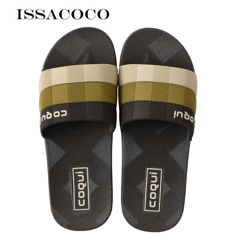 ISSACOCO Home Slippers Shoes Men Sandals Men Summer Shoes Beach Slippers Indoor Slippers Pantuflas Terlik Chinelos EU Size 42-46