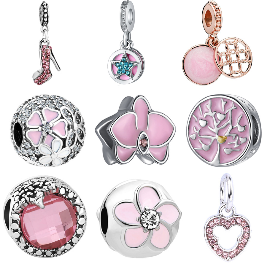 New Original pink Orchid bloom flower family life tree pendant bead Fit Pandora charms Bracelet Necklace DIY Women Jewelry(China)
