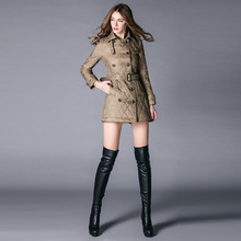 2016 Classic Fashion Long Sleeve Double Breasted Diamond Quilted Argyle Coat Outwear Windbreaker Jacket Overcoat Xl D637