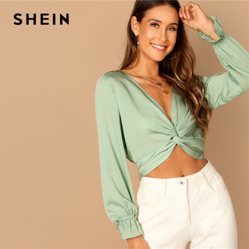 SHEIN Green Plunging Deep V Neck Twist Ruffle Long Sleeve Crop Blouse Women 2019 Spring Plain Casual Vacation Tops And Blouses