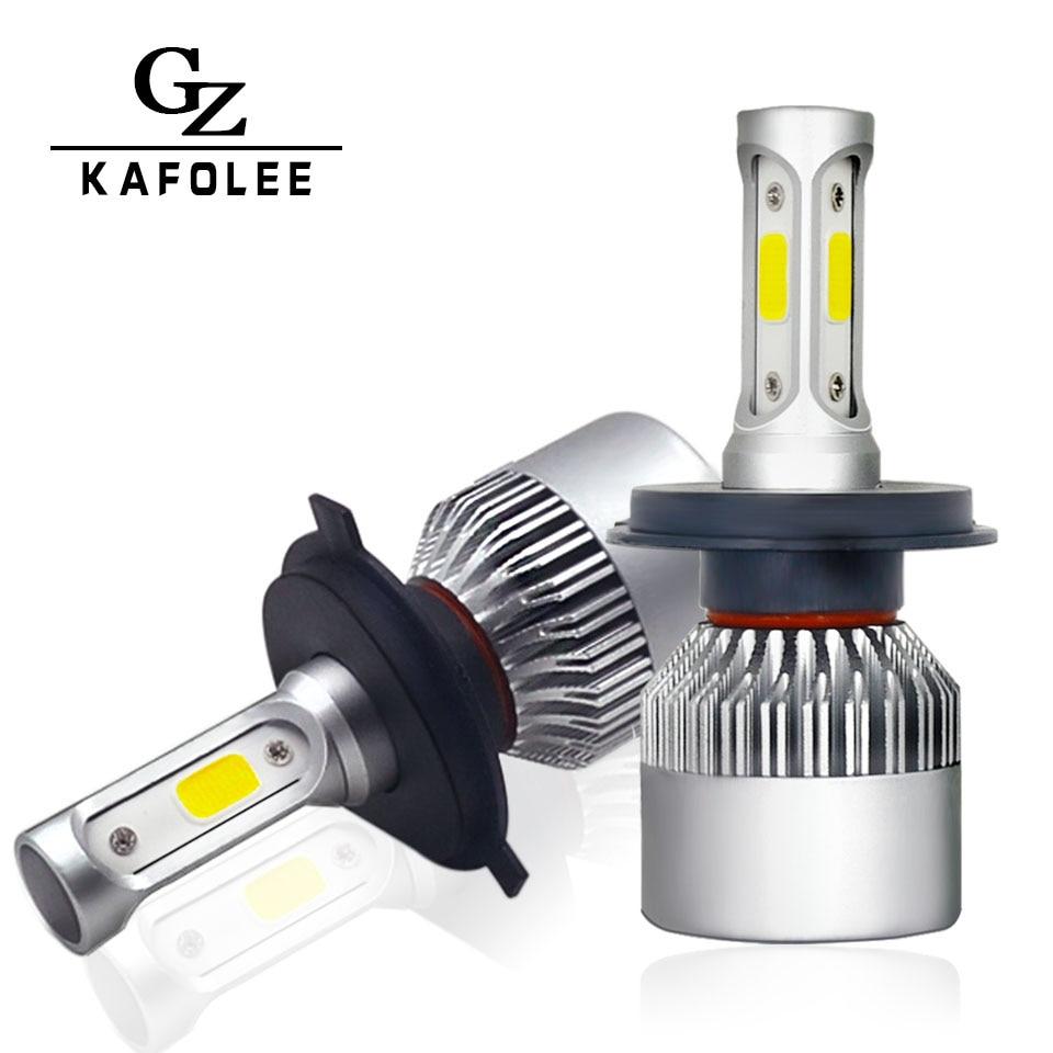 Kafolee 2 unids auto faro H7 LED H4 Bombillas H1 H8 H11 H3 hb4 HB3 h27 H13 9005 9006 9003 linterna del coche 6500 K 12 V 76 W 8000lm