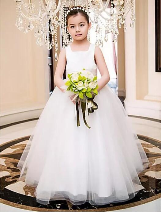 2017 Custom Made Flower Girls Dresses White Ball Gown Ankle Length Puffy First Communion Dress тумба прикроватная васко соло 032 1104