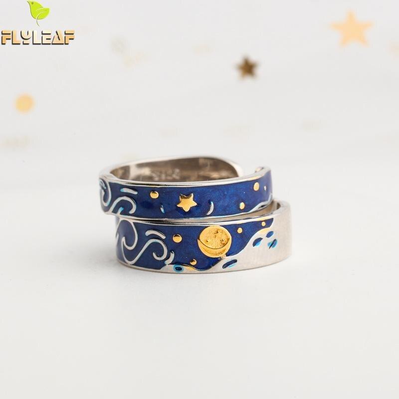 Flyleaf Blau Van Gogh Starry Sky Open Liebhaber Ringe Für Frauen Männer Romantische Valentinstag Geschenk 100% 925 Sterling silber Schmuck