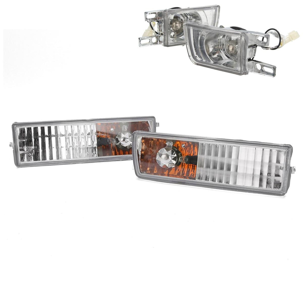 Pair H3 Front Bumper Fog Light+Pair 7507 Turn Signal For VW MK3 Jetta Golf 92-97 front bumper convex lens fog light for vw touran 1t1 1t2 l 1t0941699 r 1t0941700 foglamps