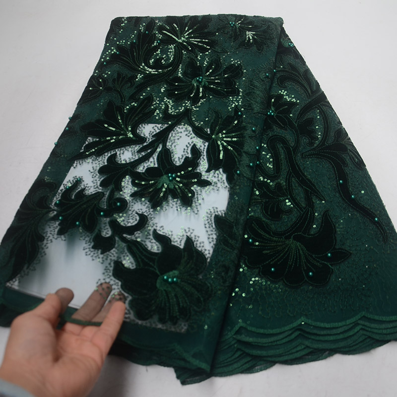 Dark Green Nigerian Tulle Lace Fabaric Latest Design Net 2019 High Quality French African Sequins Lace