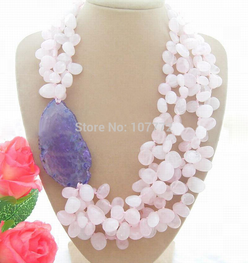 Stunning! Pink Quartz 30 x 56 MM Onyx Necklace free shipmentStunning! Pink Quartz 30 x 56 MM Onyx Necklace free shipment